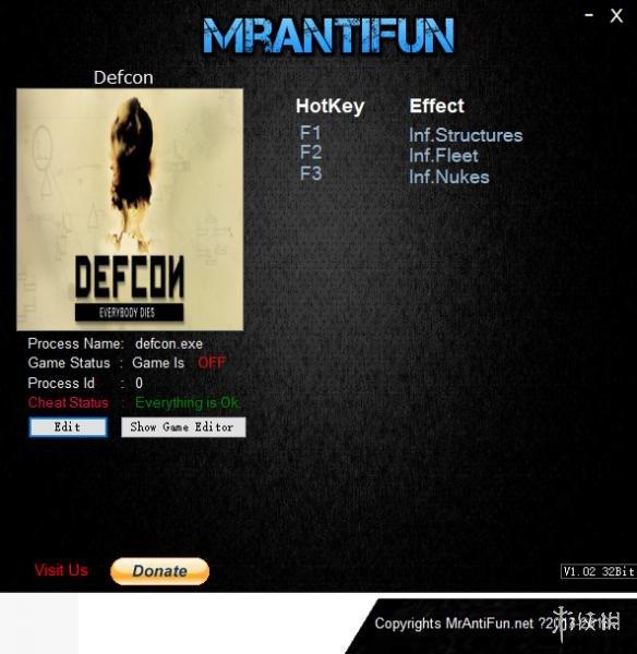 核戰危機(Defcon)v1.62三項修改器MrAntiFun版