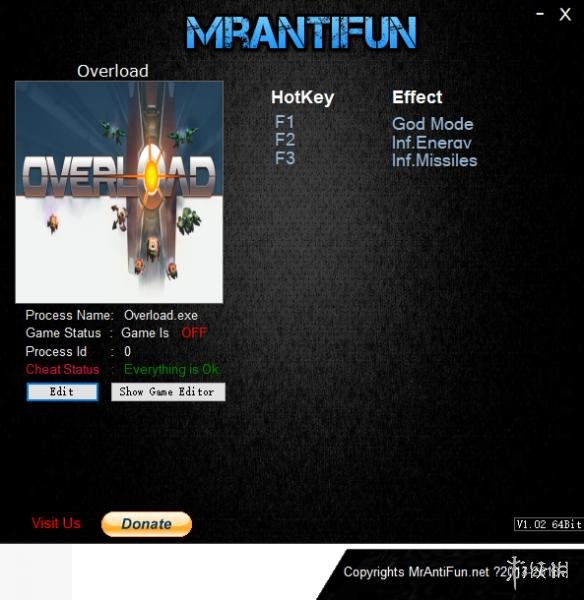 超負荷(Overload)v1.00 Build1875三項修改器Mrantifun版