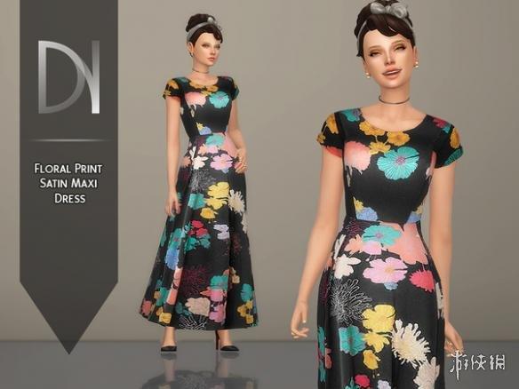 類比市民4(The Sims 4)碎花緞面長連衣裙MOD