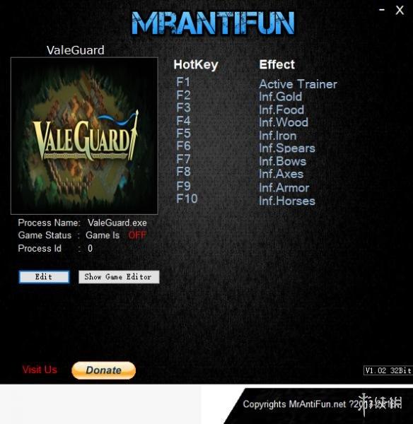 山谷守衛(ValeGuard)v2018.09.23九項修改器MrAntiFun版