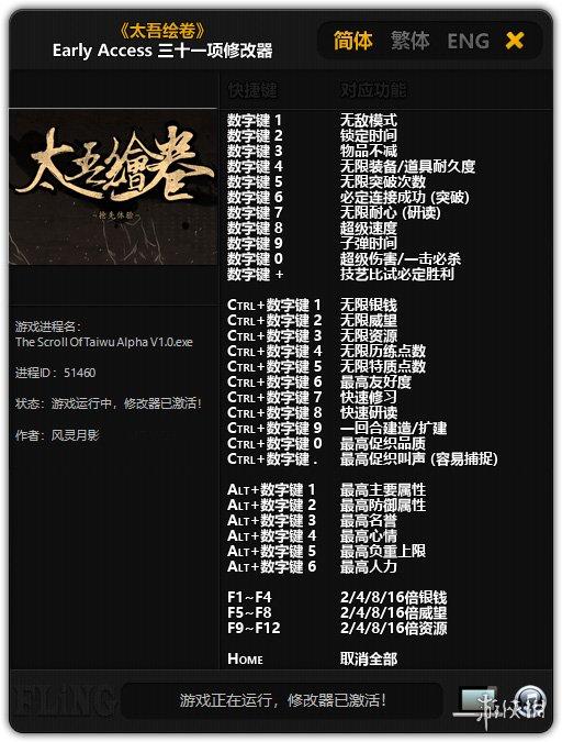 太吾繪卷(Scroll Of Taiwu)早期測試版 三十一項修改器風靈月影版[v20181001]