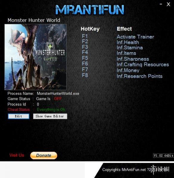 魔物獵人世界 v157749七項修改器MrAntiFun版_魔物獵人世界修改器