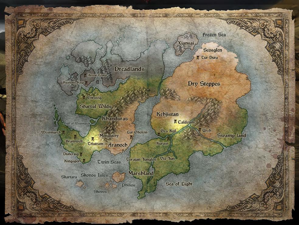 暗黑破坏神3 世界地图及游戏场景设定图