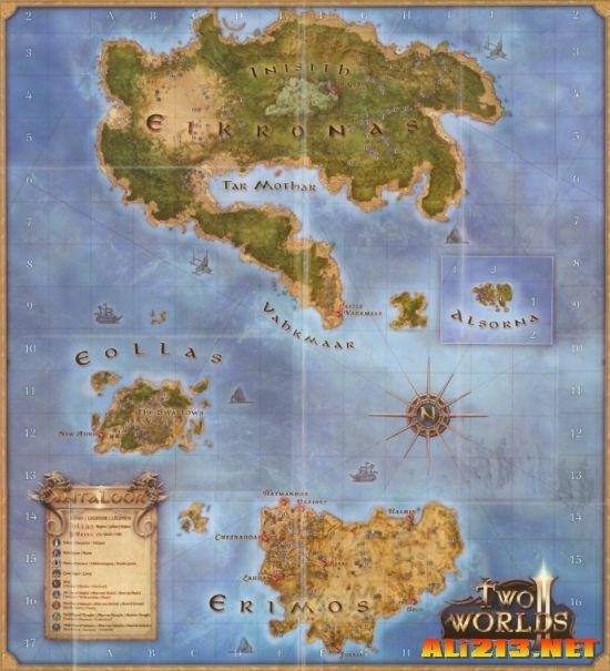 《两个世界2》游戏内部地图一张