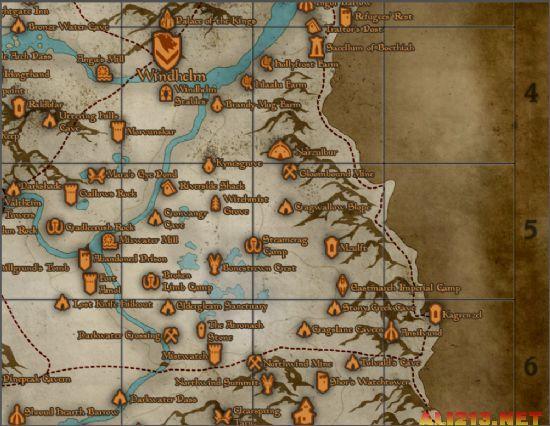 """《上古卷轴5》""""天际""""最全地图!保证不再迷失"""