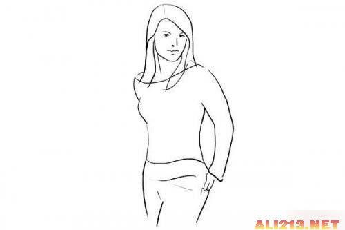 侧面女人物简笔画