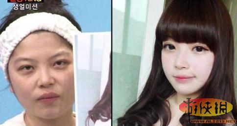 韩国网络美女卸妆后超惊悚