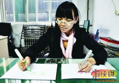 国内惊现奇女子 河北女生双手用不同语言写字