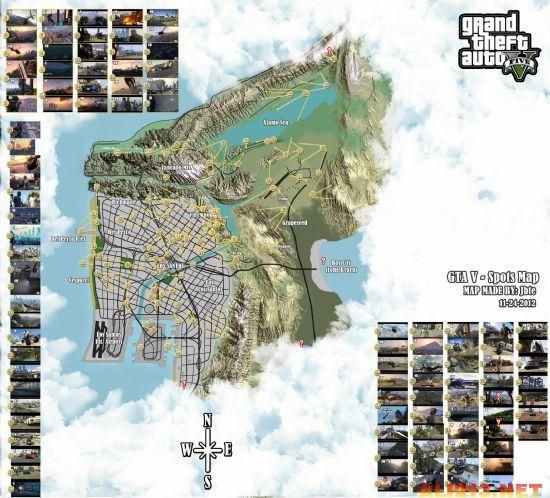 碉堡!根据预告和截图 粉丝制作出GTA5全景图