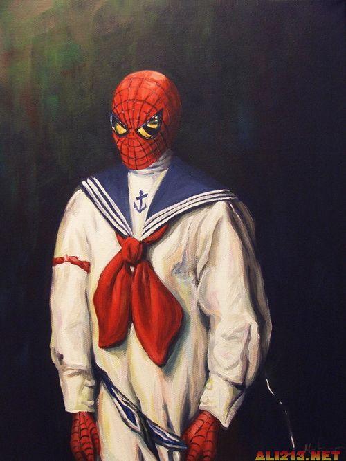 经典动漫人物复古风 蝙蝠侠羞射 蜘蛛侠水手装