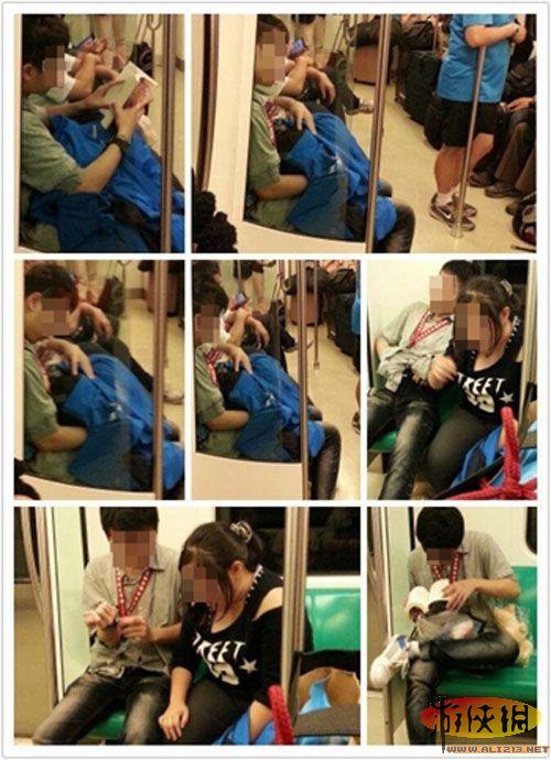 台湾地铁上演活春宫 学生情侣当众偷吃禁果图片