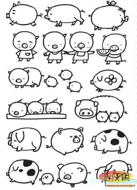 简笔画 教你画各种猪啊 可以画一只