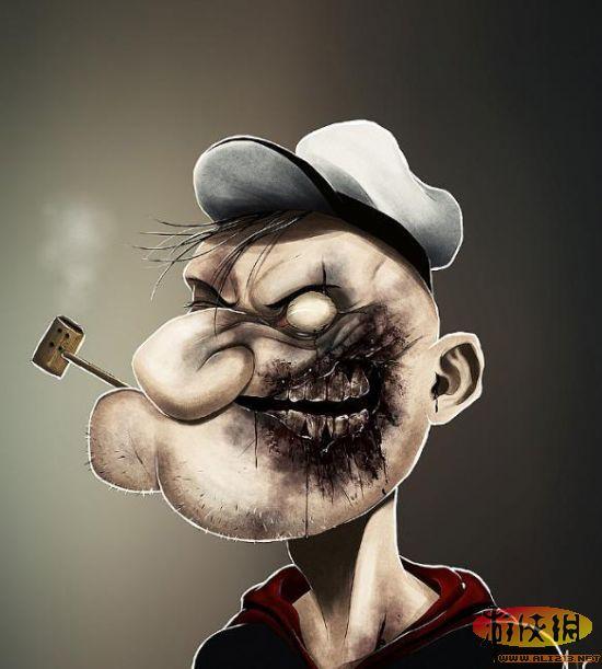 【游俠導讀】動漫里面的人物突然化身為僵尸,會是什么樣子的呢?秘魯一位設計師兼插畫師Andre De Freitas創作的《Zombie Portraits 僵尸肖像》系列。路飛、唐老鴨、蝙蝠俠等等動漫人物的喪尸形象設計。