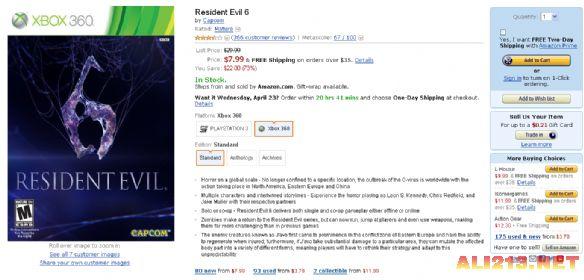 喜聞樂見!『惡靈古堡6』亞馬遜現在只賣8美元