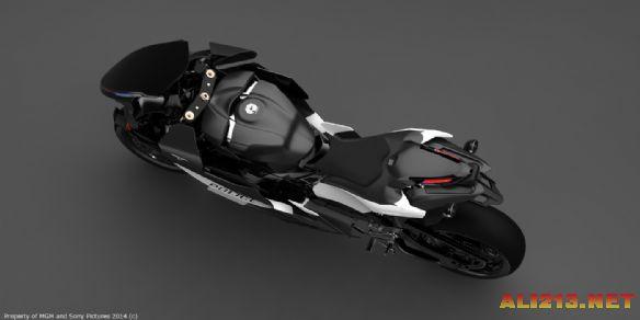 电影《机械战警》3d概念图 黑色酷炫摩托车和枪械