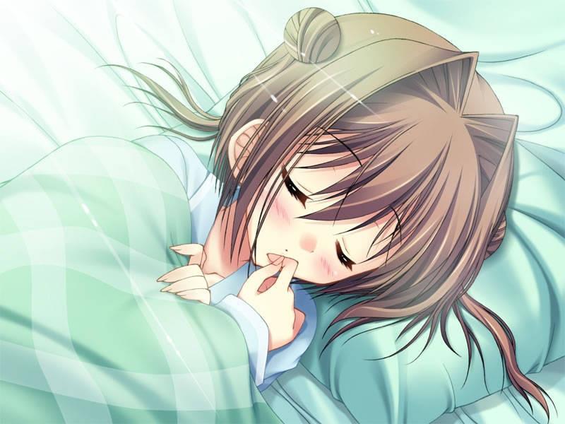 熟睡中的二次元少女美图