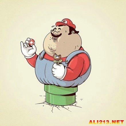 胖子吃货卡通版!美国画家带来应景春节吃胖插画
