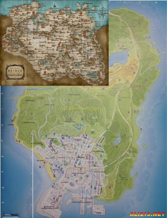 《上古卷轴5》与gta地图