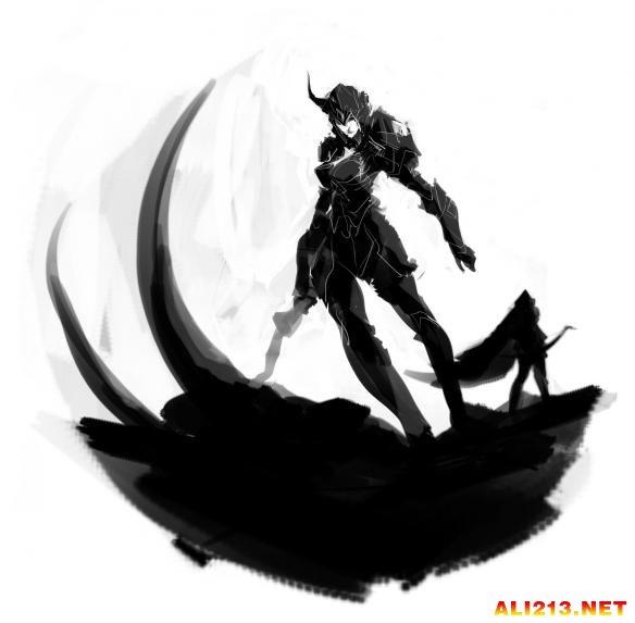 韩国玩家 英雄联盟 League of Legends 写意风格同人赏 黑白交错的剪影
