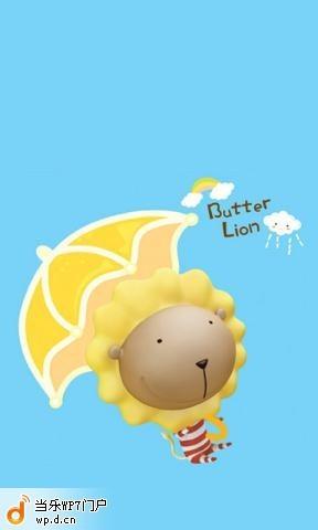 奶油狮的可爱小雨伞布景主题