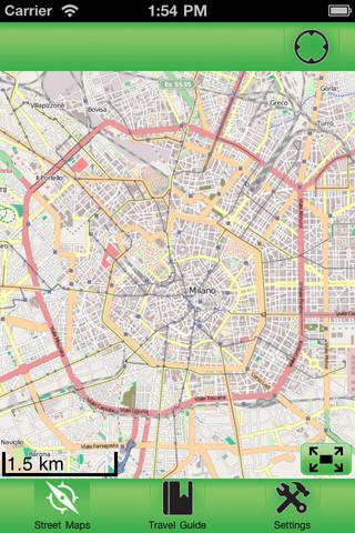 米兰意大利离线街道地图