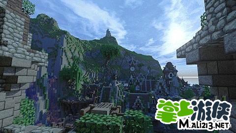 我的世界小镇存档分享 山崖小镇建筑物设计图