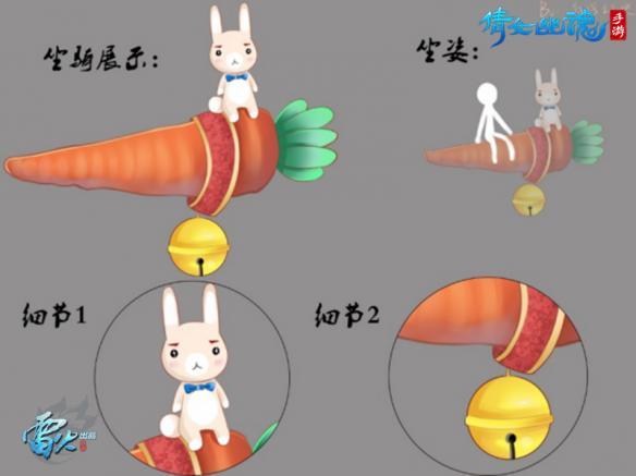 全新超萌坐骑——胡萝卜兔子坐骑,不仅将提高行走江湖的