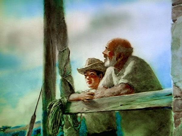 1952年,海明威发表了中篇小说《老人与海》,在全球引起了不晓得反响。 老渔夫圣地亚哥在海上连续84天没有捕到鱼。起初,有一个叫曼诺林的男孩跟他一道出海,可是过了40天还没有钓到鱼,孩子就被父母安排到另一条船上去了,因为他们认为孩子跟着老头不会交好运。第85天,老头儿一清早就把船划出很远,他出乎意料地钓到了一条比船还大的马林鱼。