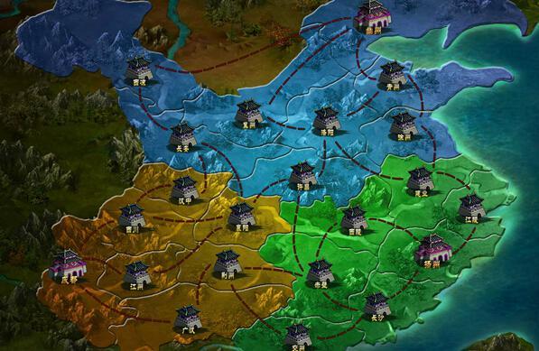 在三国鼎立战场地图中,按照魏蜀吴三大阵营划分成三个势力,每场