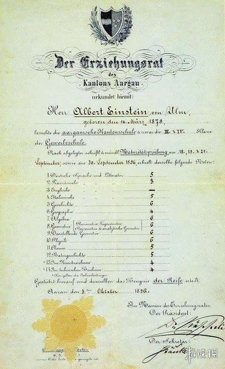 愛因斯坦成績單諾貝爾官方版出爐,偏科有遜色