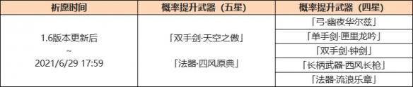 《原神手游》1.6武器up池第一期 1.6神铸赋型活动第一期